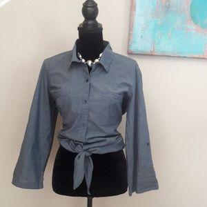 Loft/ Denim Blue/ Tie Waist/ Button Up